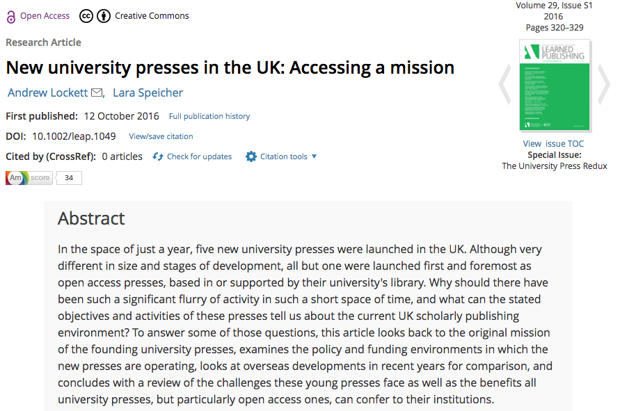 New University Presses in the UK: Accessing aMission
