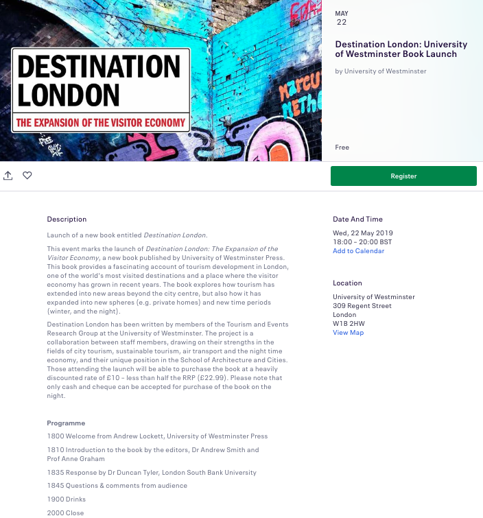 Event to mark launch of Destination London: The Expansion of the Visitor Economy