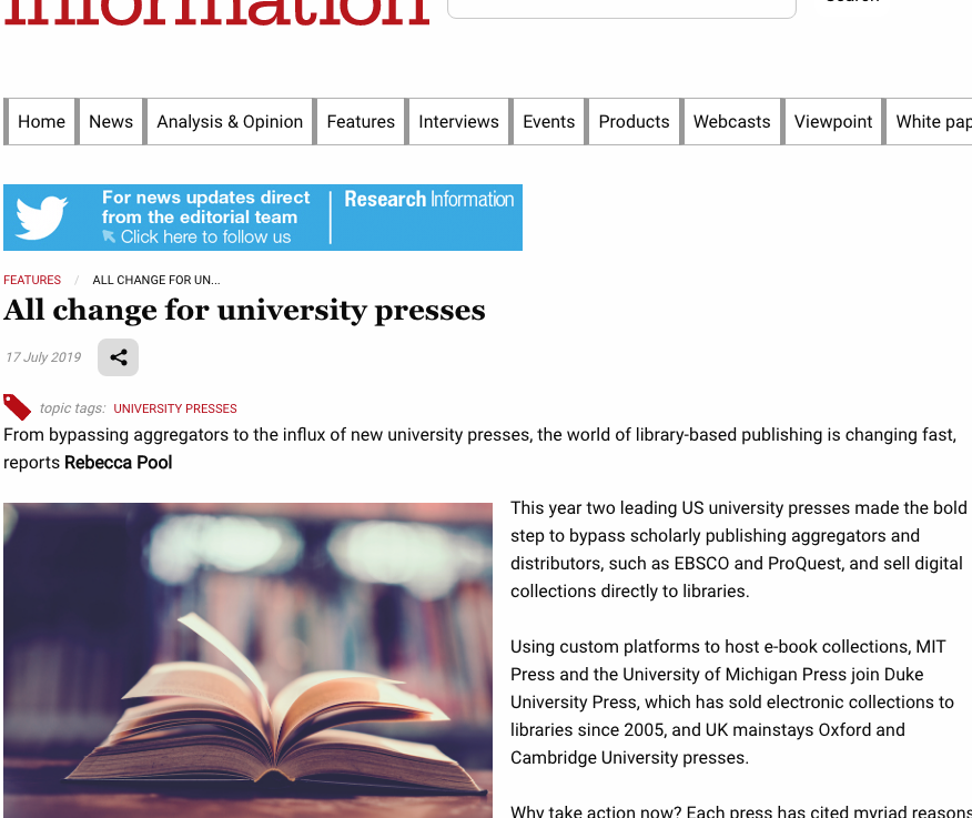 'Influx of New University Presses' — change accelerating in academic publishing.